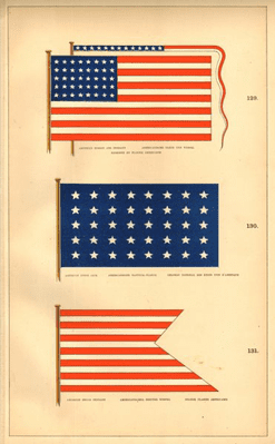 USA MARITIME/NATIONAL FLAGS. American Ensign broad pennant Union Jack 1873